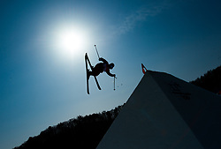 February 18, 2018 - Pyeongchang, South Korea - GUS KENWORTHY of the United States catches air during Mens Ski Slopestyle qualifications Sunday, February 18, 2018 at Phoenix Snow Park at the Pyeongchang Winter Olympic Games.  Kenworthy qualified for the finals. Photo by Mark Reis, ZUMA Press/The Gazette (Credit Image: © Mark Reis via ZUMA Wire)