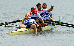 File photo dated 04-08-2012 of Great Britain's Men's Four of (left to right) Andrew Triggs Hodge, Tom James, Pete Reed and Alex Gregory celebrate winning gold
