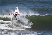 Makai McNamara of Hawaii advances to round two after placing first in round one heat 14 of the 2018 Hawaiian Pro at Haleiwa, Oahu, Hawaii, USA.