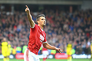 Nottingham Forest defender Eric Lichaj (2) scores a goal and celebrates, 2-0, during the EFL Sky Bet Championship match between Nottingham Forest and Burton Albion at the City Ground, Nottingham, England on 21 October 2017. Photo by John Potts.