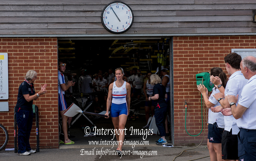 Caversham, England, GBR W2-, Helen GLOVER, leaves the Boathouse. 2015 GBRowing World Championship Team Announcement. Tuesday. 21.07.2015.  At the Reading Training Base. [Mandatory Credit. Peter SPURRIER/Intersport Images]