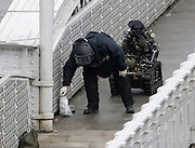 BOMB SCARE IN ABERDEEN CITY CENTRE ...  PIC OF ARMY BOMB DISPOSAL TEAM AT THE BRIDGE IN GUILD STREET WHERE A SUSPIOUS PACKAGE WAS FOUND BY A LAMPOST.PIC DEREK IRONSIDE / NEWSLINE SCOTLAND