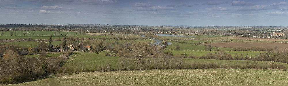 River Thames and Day's Lock from Wittenham Clumps near Wallingford, Oxfordshire, Uk