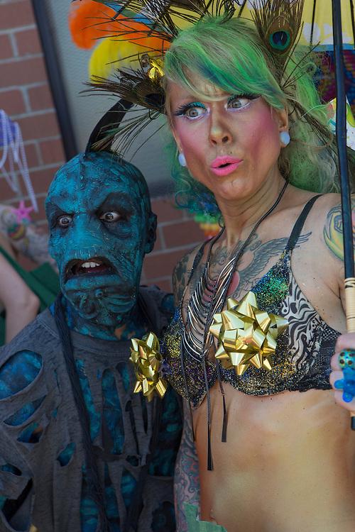 A sea demon and a mermaid.