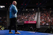 LAS VEGAS, NV - JULY 7:  Brock Lesnar answers questions during a Q&A the UFC 200 open workouts at T-Mobile Arena on July 7, 2016 in Las Vegas, Nevada. (Photo by Cooper Neill/Zuffa LLC/Zuffa LLC via Getty Images) *** Local Caption ***  Brock Lesnar