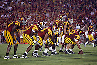 1 September 2007: Trojans Offensive line at the line of scrimmage. Fred Davis (83) Anthony McCoy (86) Drew Radovich (60) Chilo Rachal (66) John David Booty (10) Kristopher O'Dowd (61) Jeff Byers (53).  USC Trojans college football team defeated the Idaho Vandals 38-10 at the Los Angeles Memorial Coliseum in CA.  NCAA Pac-10 #1 ranked team first game of the season.
