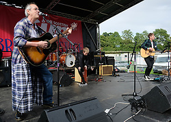 """Party at the Palace, Linlithgow, Saturday 12th August 2017<br /> <br /> Stuart """"Woody"""" Wood from the Bay City Rollers performs with his new band Woody's Rollercoasters on the Break Out Stage. His performance attracted some old Rollers fans to the stage.<br /> <br /> (c) Alex Todd 