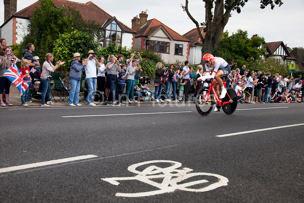 London, UK. Wednesday 1st August 2012. The Men's Individual Time Trial cycling event passes through Twickenham on route to find the fastest male cyclist. Rider Tony Martin of Germany. Silver medalist.