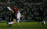 Photo: Steve Bond.<br />Derby County v Nottingham Forest. Pre Season Friendly. 31/07/2007. Wes Morgan (L) tangles with steve Howard (R) in the penalty area