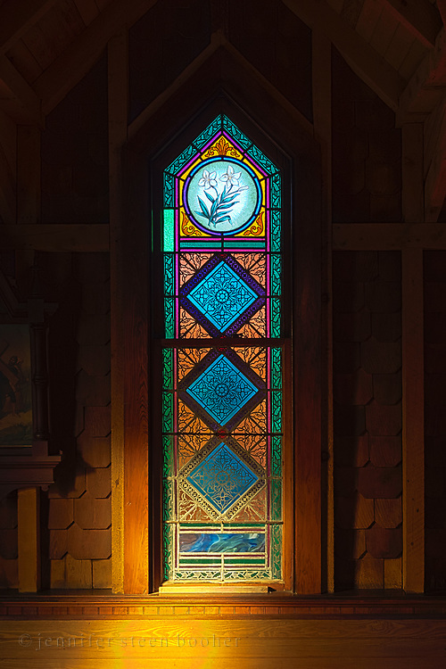 """Window 9 on plan. 22.5"""" x 82"""" including sash.<br /> <br /> This is one of two windows at St. Ignatius without an inscription."""