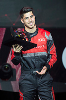 Marco Asensio of Real Madrid CF races in his simulated Formula-e car during a race with his teammates during the Audi Handover Sponsorship deal with Real Madrid at the Ciudad Deportivo training grounds in Madrid, Spain. November 23, 2017. (ALTERPHOTOS/Borja B.Hojas)
