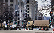 Roadblock on K and 9th Street in Washington D.C. in the lead up to Inauguration Day.