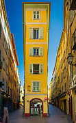"""Typical French building in the """"Vielle Ville"""" part of Nice, France"""