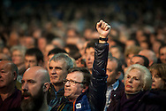 A man rises his fist as he attends a tribute meeting to Basque politician Arnaldo Otegi, organized by Sortu pro-indpendence party, four days after he left prison. Donostia (Basque Country). March 5, 2016. Arnaldo Otegi is a politician, member of the Basque patriotic left movement, who was arrested in 2009, acused of trying to rebuild outlawed Batasuna pro-independence party, and was given a ten year sentence. In may 2012 Otegi's sentence was reduced to 6 1/2 years by the Spanish Supreme Court, as they decided he was not part of ETA. (Gari Garaialde / Bostok Photo)