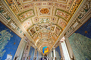 A view down the maps room in Vatican City, Rome.