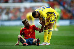 June 10, 2019 - Madrid, MADRID, SPAIN - Inigo Martinez Berridi of Spain and Robin Quaison of Sweden during the 2020 UEFA European Championships group F, European Qualifiers, played between Spain and Sweden at Santiago Bernabeu Stadium in Madrid, Spain, on June 10, 2019. (Credit Image: © AFP7 via ZUMA Wire)