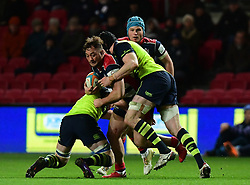 Alapati Leiua of Bristol Rugby goes into contact - Mandatory by-line: Alex Davidson/JMP - 08/12/2017 - RUGBY - Ashton Gate Stadium - Bristol, England - Bristol Rugby v Leinster 'A' - B&I Cup