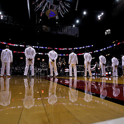 March 10, 2011; Miami, FL, USA; Los Angeles Lakers players stand during the national anthem before a game against the Miami Heat at the American Airlines Arena.  Mandatory Credit: Derick E. Hingle