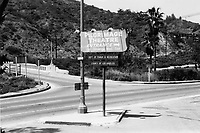 1973 Pilgrimage Play Theater sign on the east side of the Cahuenga Pass.