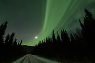 The moon shines through ribbons of light along a road in Central Alaska