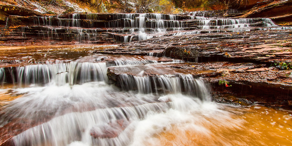 This Archangel Falls Panorama is a phenomenal multi-tiered waterfall along the trail to the famous Subway in Zion National Park that showcases the many layers of the waterfall.  This is virtual playground for any Utah Landscape Photography.