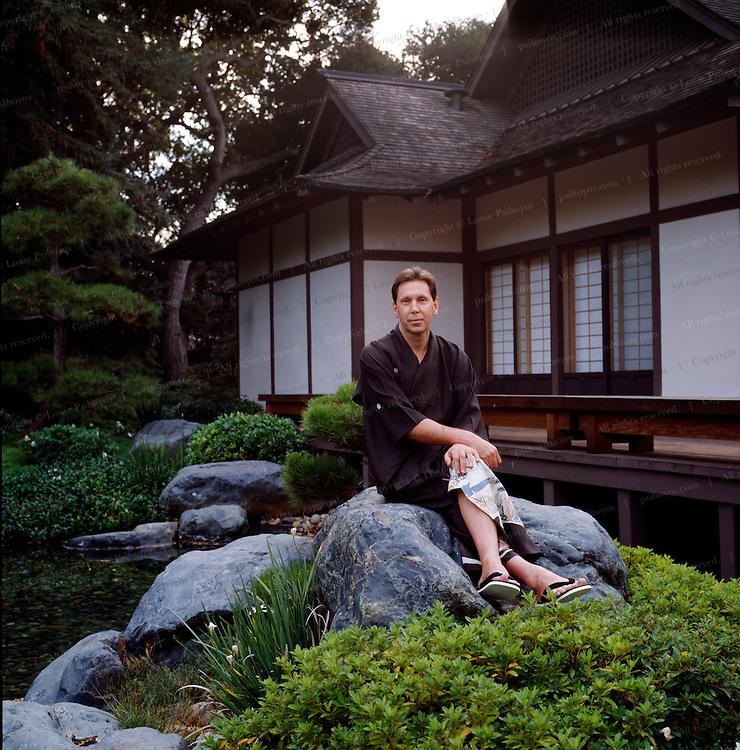 Larry Ellison, software billionaire and CEO of Oracle Corporation in his Japanese Garden of his home in Atherton, California.