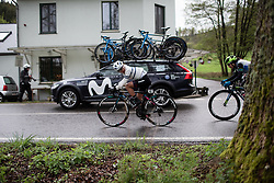 Omer Shapira (ISR) of CANYON//SRAM Racing rides mid-pack during the Liege-Bastogne-Liege Femmes - a 138.5 km road race, between Bastogne and Liege on April 28, 2019, in Wallonie, Belgium. (Photo by Balint Hamvas/Velofocus.com)