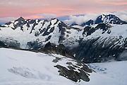 Sunset view of Forbidden Peak from Klawatti Col, North Cascades National Park, Washington.