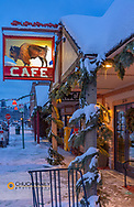 Winter morning in front of the Buffalo Cafe in downtown Whitefish, Montana, USA