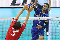 07.09.2014, Krakow Arena, Krakau, POL, FIVB WM, Frankreich vs Belgien, Gruppe D, im Bild FRANK DEPESTELE, KEVIN TILLIE // during the FIVB Volleyball Men's World Championships Pool D Match beween France and Belgium at the Krakow Arena in Krakau, Poland on 2014/09/07.<br /> <br /> ***NETHERLANDS ONLY***