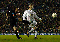 Photo. Jed Wee, Digitalsport.<br /> Leeds United v Leicester City, FA Barclaycard Premiership, Elland Road, Leeds. 05/04/2004.<br /> Leicester's Paul Dickov strikes to give Leicester hope.