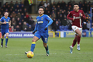 AFC Wimbledon attacker Harry Forrester (11) dribbling away from Northampton Town midfielder Daniel Powell (11) during the EFL Sky Bet League 1 match between AFC Wimbledon and Northampton Town at the Cherry Red Records Stadium, Kingston, England on 10 February 2018. Picture by Matthew Redman.