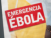 Close up of charity advert fundraising for  Ebola emergency in West Africa, Spain