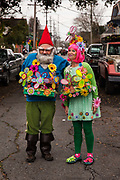 Gnomes from the Society of Saint Anne gathering to parade during Mardi Gras on 25th February 2020 in Bywater district of New Orleans, Louisiana, United States. Mardi Gras is the biggest celebration the city of New Orleans hosts every year. The magnificent, costumed, beaded and feathered party is laced with tradition and  having a good time. Celebrations are concentrated for about two weeks before and culminate on Fat Tuesday the day before Ash Wednesday and Lent.