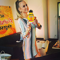"""Jenny Elvers releases a photo on Instagram with the following caption: """"#moin#bertundichhabendiegleichefrisur\ud83d\ude02#sch\u00f6nesarbeiten #machtspass #eucheinentollentag @sesamestreet @sandroparis @fruehstuecksfernsehen @sat1 @promibb @_celebritynetwork_ @shanrahimkhangermany"""". Photo Credit: Instagram *** No USA Distribution *** For Editorial Use Only *** Not to be Published in Books or Photo Books ***  Please note: Fees charged by the agency are for the agency's services only, and do not, nor are they intended to, convey to the user any ownership of Copyright or License in the material. The agency does not claim any ownership including but not limited to Copyright or License in the attached material. By publishing this material you expressly agree to indemnify and to hold the agency and its directors, shareholders and employees harmless from any loss, claims, damages, demands, expenses (including legal fees), or any causes of action or allegation against the agency arising out of or connected in any way with publication of the material."""
