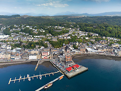 Aerial view from drone of harbour at Oban, Argyll and Bute, Scotland, UK