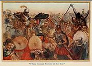 Fifteen thousand Romans fell that day illustrating the story ' Hannibal ' From the book '  The red book of heroes ' by Mrs. Lang, Edited by Andrew Lang, illustrated by A. Wallis Mills, Published by Longmans, Green, and Co. New York, London, Bombay and Calcutta in 1909