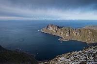 View towards Skolmen from summit of Østhimmeltind, Vestvågøy, Lofoten Islands, Norway