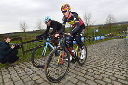 March 30, 2018 - Oudenaarde, Belgique - OUDENAARDE, BELGIUM - MARCH 30 : NAESEN Oliver (BEL)  of AG2R La Mondiale and GALLOPIN Tony (FRA)  of AG2R La Mondiale on the Paterberg climb during a training session prior to the Flanders Classics UCI WorldTour 102nd Ronde van Vlaanderen cycling race with start in Antwerpen and finish in Oudenaarde on March 30, 2018 in Oudenaarde, Belgium, 30/03/2018 (Credit Image: © Panoramic via ZUMA Press)
