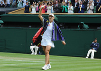 Lawn Tennis - 2021 All England Championships - Week Two - Thursday - Wimbledon - Ladies Semi Final . Ashleigh Barty v Angelique Kerber <br /> <br /> Angelique Kerber waves to the crowd after defeat<br /> <br /> Credit : COLORSPORT/Andrew Cowie