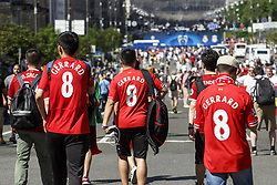May 26, 2018 - Kiev, Ukraine - Liverpool fans gather prior the final of the UEFA Champions League in a fanzone downtown Kiev, Ukraine, 26 May 2018. Real Madrid will face Liverpool FC in the UEFA Champions League final at the NSC Olimpiyskiy stadium on 26 May 2018. (Credit Image: © Oleg Pereverzev/NurPhoto via ZUMA Press)