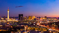 Panoramic view of the Stratosphere Casino Hotel & Tower (on left) and The Strip and Interstate 15 (on right ), Las Vegas, Nevada USA.