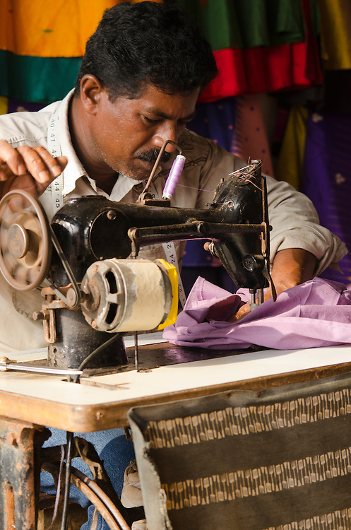 A local tailor in a workshop in Varkala, Kerala, South India