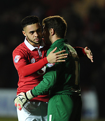 Bristol City Goalkeeper, Frank Fielding and Bristol City's Derrick Williams embrace prior to the game  - Photo mandatory by-line: Joe Meredith/JMP - Mobile: 07966 386802 - 10/02/2015 - SPORT - Football - Bristol - Ashton Gate - Bristol City v Port Vale - Sky Bet League One