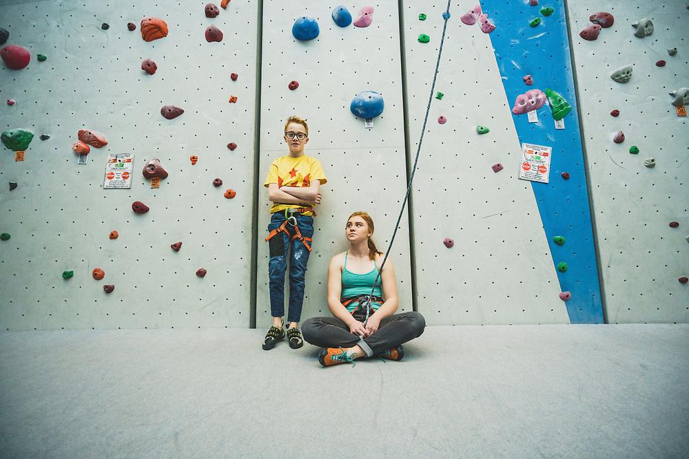 Climbing siblings. Noah and Zoe Keithley, Momentum Millcreek Climbing Gym, Salt Lake City, Utah.