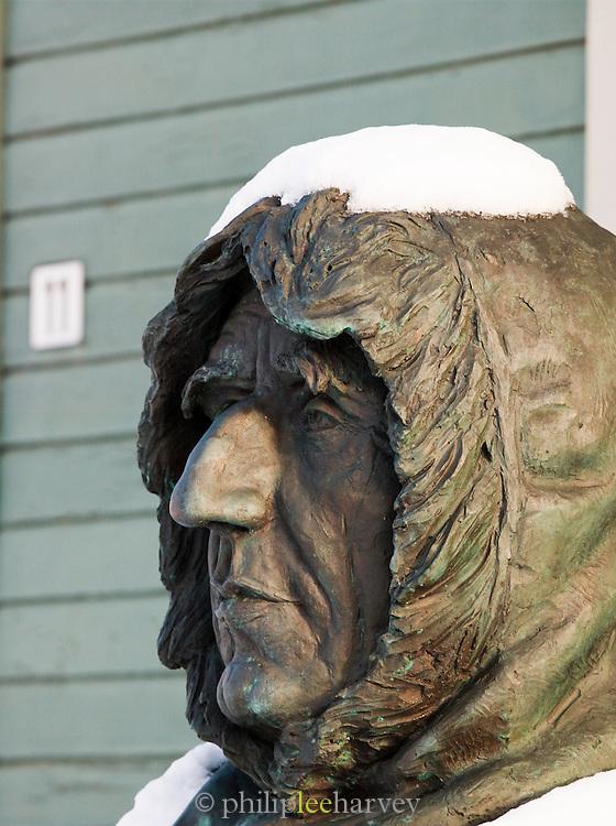 Statue of the actic explorer Roald Amundsen outside the Polar Museum in Tromso, Norway