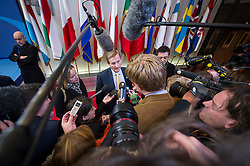 Enda Kenny, Ireland's prime minister, speaks to the media as he departs, following the conclusion of the EU Summit, at the European Council headquarters in Brussels, Belgium on Friday, Dec. 14, 2012. (Photo © Jock Fistick)