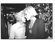 Mrs. Milton Petrie and Nan Kempner. 7th Regiment Antique Show. 1995 approx. © Copyright Photograph by Dafydd Jones 66 Stockwell Park Rd. London SW9 0DA Tel 020 7733 0108 www.dafjones.com