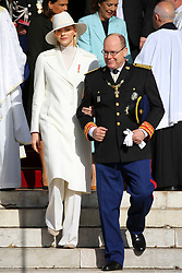 Prince Albert II and Princess Charlene of Monaco, Princess Caroline of Hanover, Princess Stephanie of Monaco are leaving St Nicholas Cathedral after the solemn mass celebrated by the arcibishop Bernard Barsi, during the National Day ceremonies, Monaco Ville (Principality of Monaco), on November 19th, 2019. Photo by Marco Piovanotto/ABACAPRESS.COM