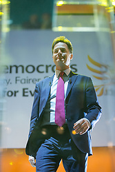 © Licensed to London News Pictures . 08/10/2014 . Glasgow , UK . NICK CLEGG , Deputy Prime Minister and Party Leader , enters the stage to deliver his keynote speech at the close of the conference . The Liberal Democrat Party Conference 2014 at the Scottish Exhibition and Conference Centre in Glasgow . Photo credit : Joel Goodman/LNP